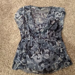 Floral cowl neck top with elastic waist
